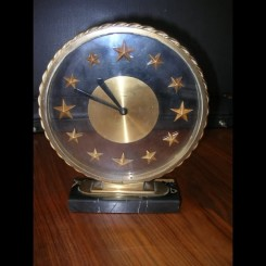 French modernist glass & bronze (8) day clock by bayard