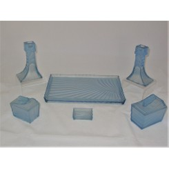 Walther and Sohne Art Deco blue glass dressing table set