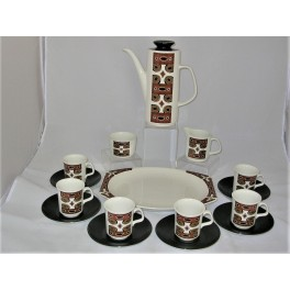 Maori pattern Mid Century coffee set by Jesse tait for J and G Meakin