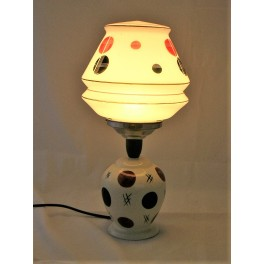 1960's pottery table lamp with original glassshade