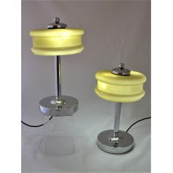 Pair Of Mid Century Modern Chrome Table Lamps Yellow Shades