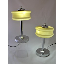 (SOLD) Pair Of Mid Century Modern Chrome Table Lamps Yellow Shades