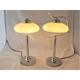 (SOLD) Pair Of Mid Century Modern Chrome Table Lamps Peach Shades