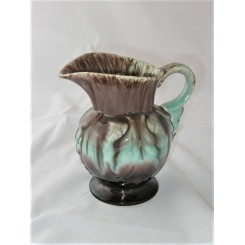 West German Pottery Green And Brown Flower Pattern Jug