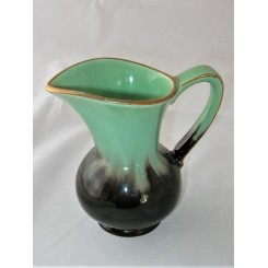 West German Pottery Small Green And Brown Jug