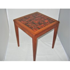 Small Mid Century Fat Lava Tile Top Occasional Table