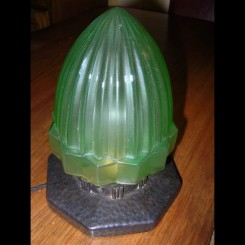 Good french wrought iron table lamp with green bullet shade