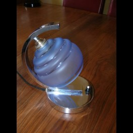 """Superb """"c"""" shaped table lamp by wmf with blue shade"""