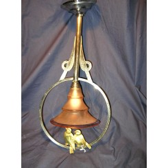 A lovely french art deco chrome ceiling fixture with bronze birds decoration