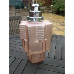 A lovely french stepped odeon design cubist fixture circa 1930