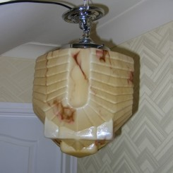 Superb and rare deco marbled ceiling fixture