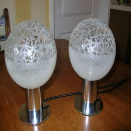 Pair of chrome and glass globe table lamps