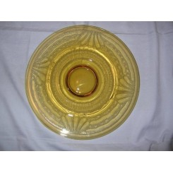 Yellow etched glass table centre dish by Verame