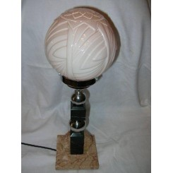 FRENCH MARBLE & CHROME TABLE LAMP