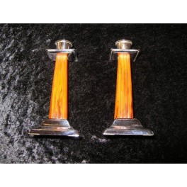 Pair of Catalin Bakelite candlesticks with chrome mounts