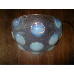 """Set of 3 Rene Lalique opalescent glass wall lights in the """"Soleil"""" pattern"""