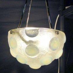 "Magnificent PAIR of Rene Lalique ceiling fixtures in the ""Soleil"" pattern"